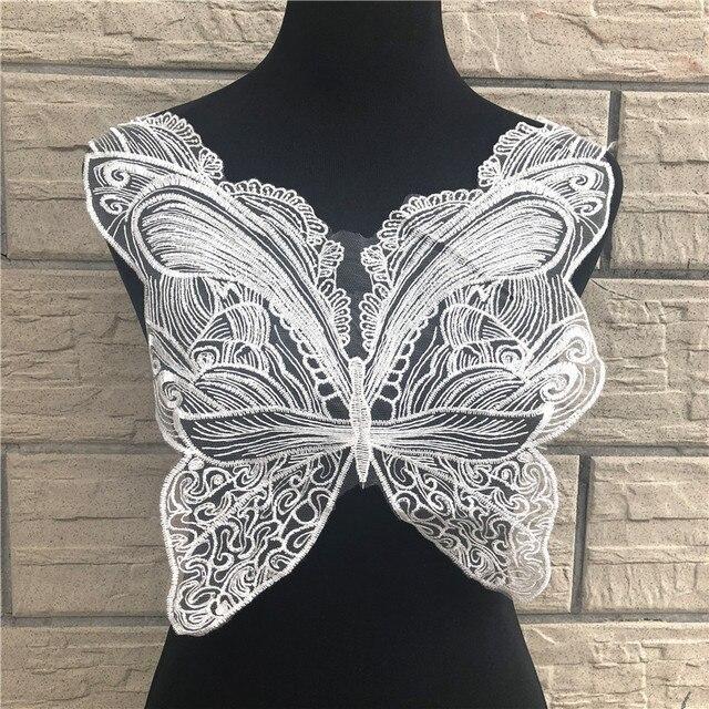 848cc6adad Black Butterfly Lace Collar Embroidered Neckline Trim Applique  Embellishments Vintage Trims Wedding Dress Accessories