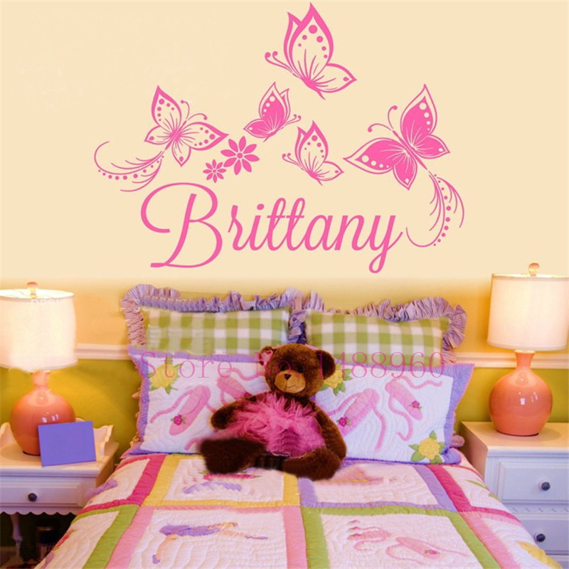 A1 DIY Butterflies Flower Personalized Custom Name Poster ...