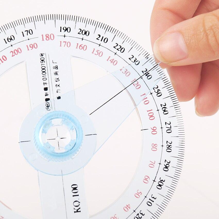 1 шт. круговой 10 см прозрачный пластик 360 градусов указатель линейка транспортира угол для школы офиса чертёжные принадлежности транспортир