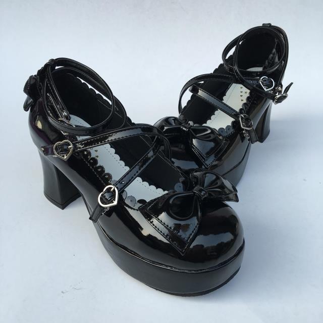 Correas Princesa Brillante Party Arcos Negro Tea Altos Zapatos Tacones Lolita Bombas Antaina Cosplay Dulces xqw1BPIEI
