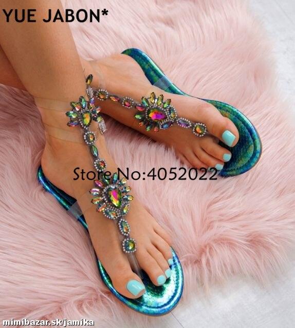 HTB1WtLBbVyZBuNjt jJq6zDlXXab 2019 Woman Sandals Women Shoes Rhinestones Gladiator Flat Sandals Crystal Chaussure Plus Size 43 tenis feminino Green Flip Flops