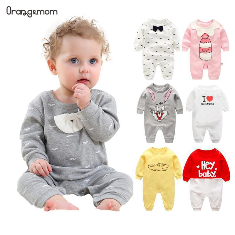 2019 spring - Autumn baby boy clothing Cotton Long Sleeved baby boy clothes ,cartoon Beard Gentleman baby   romper   Infantil babies