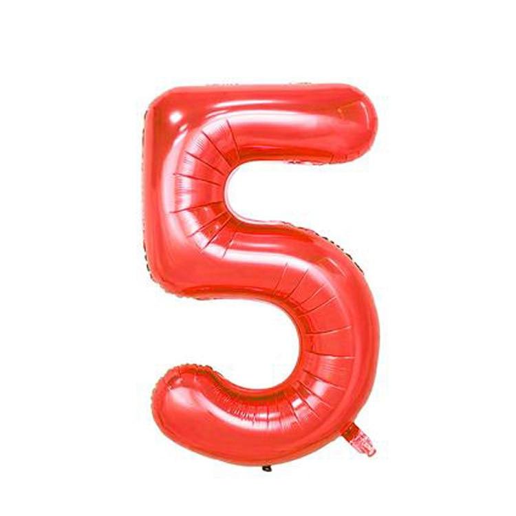 32 дюйма розовый синий 40 дюймов красный фольгированный шар большой гелиевый номер 0-9 Globo день рождения для детей Вечеринка мультфильм шляпа Декор - Цвет: red 5