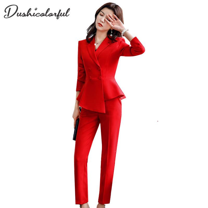 Spring Work Pant Suits 2 Piece Set for Women Double Breasted Wine red slim Casual Blazer Jacket lady business office work suit