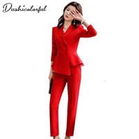 60914cd954 Spring Work Pant Suits 2 Piece Set For Women Double Breasted Wine Red Slim  Casual Blazer