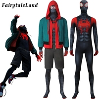 Spider Man Into The Spider Verse Miles Morales Cosplay Costume Superhero Jumpsuit Spider Man Costume Miles Morales Outfit