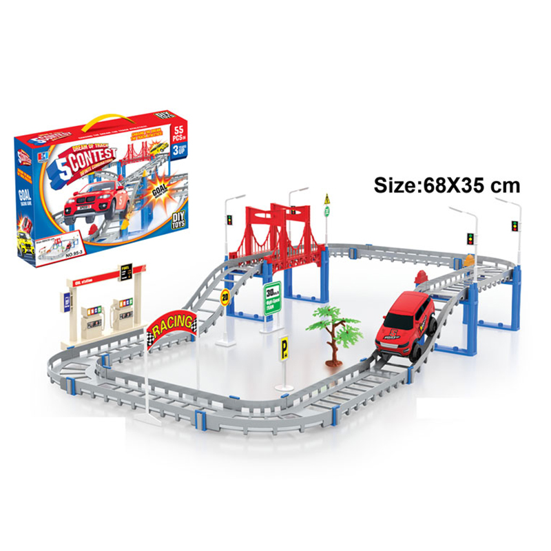 Electric Racing Rail Car Kids Train Track Model Toy Baby Railway Track Racing Road Transportation Building Slot Set Creative