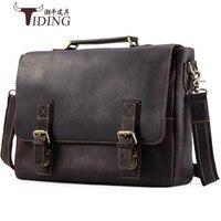 men's briefcase crazy horse leather 2018 man vintage brown business man 17 laptop travel bags male dress handbags shoulder bags