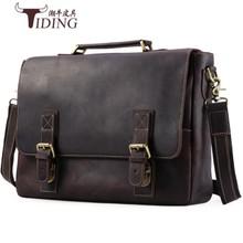 """pánské kufr bláznivý kůň kůže 2018 muž vintage hnědý obchodní muž 17 """"laptop cestovní tašky mužské šaty kabelky ramenní tašky"""