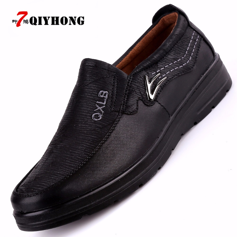 Image 2 - QIYHONG New Trademark Size 38 47 Upscale Men Casual Shoes Fashion Leather Shoes For Men Summer MenS Flat Shoes Dropshippingshoes forshoes for menshoes for men fashion -