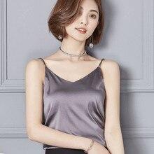 Summer Camisoles 2019 New Women Simple Satin Plain Sleeveless V-Neck Loose Size S-XXL