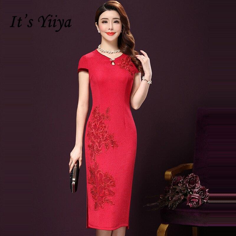 cf8909c2ce32c56 Это yiiya мать невесты платья плюс Размеры короткий рукав с цветочной  вышивкой модные дизайнерские Элегантные платья