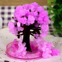 2017 Magic artificiale japoneze cresc copaci Sakura de hârtie Magic de Crăciun în creștere Copac Desktop Cherry Blossom Jucării pentru copii 100PCS