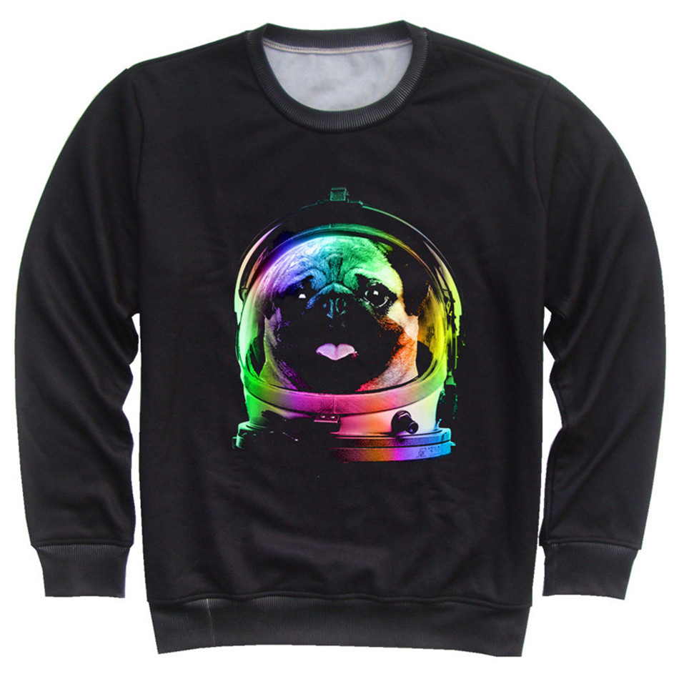 Joyonly Children Colorful Galaxy Cute Pug Astronaut Flag Horse Cat Animal Printed Hoodies Boys Girls Fashion Hoodies Kids Tops