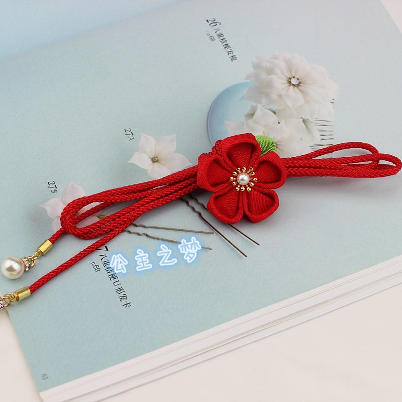 Obijime Obi Belt For Kids Traditional Japanese Style Thin Round Waist Belt For Kimono Yukata Red Pink Beading Classic HW011-S