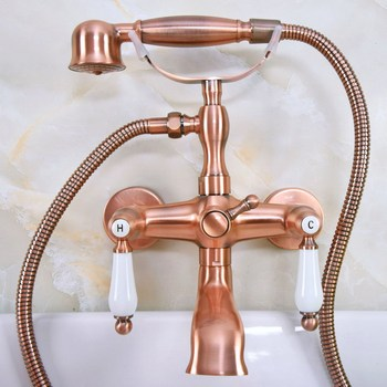 Antique Red Copper Brass Wall Mounted Bathroom Clawfoot Tub Faucet Mixer Tap Telephone Shower Head Dual Ceramic Handles ana327 wall mounted polished chrome round rain shower faucet tub mixer tap dual cross handles hand held shower head acy351