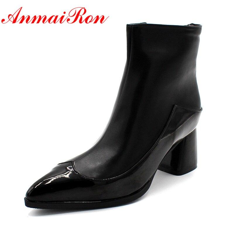 7b1af3bc2 ANMAIRON حذاء أبيض السوستة عالية الكعب حجم كبير 34-43 الشتاء الأحذية وأشار  حذاء مزود بفتحة للأصابع امرأة مثير الأحمر حذاء من الجلد للنساء