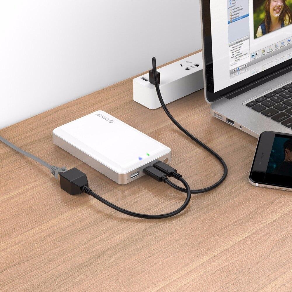 ORICO 2.5 pouces Wifi HDD boîtier privé HDD Cloud stockage Support SD/TF carte hors ligne de sauvegarde 8000 mAh batterie externe USB3.1 Gen1/2 - 5