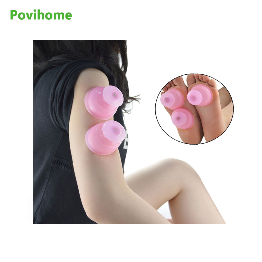 Povihome 1Pcs Silicone Massage Vacuum Body Cups Set Anti Cellulite Cupping Family Full Body Massage Massgaer Helper C833