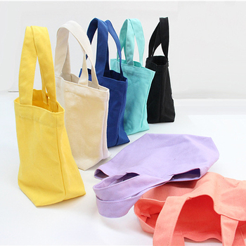 New Solid candy color canvas tote bag for kids lunch bag food Fashionable baby small lunchbox bag marmita infantis china mujer tote bag