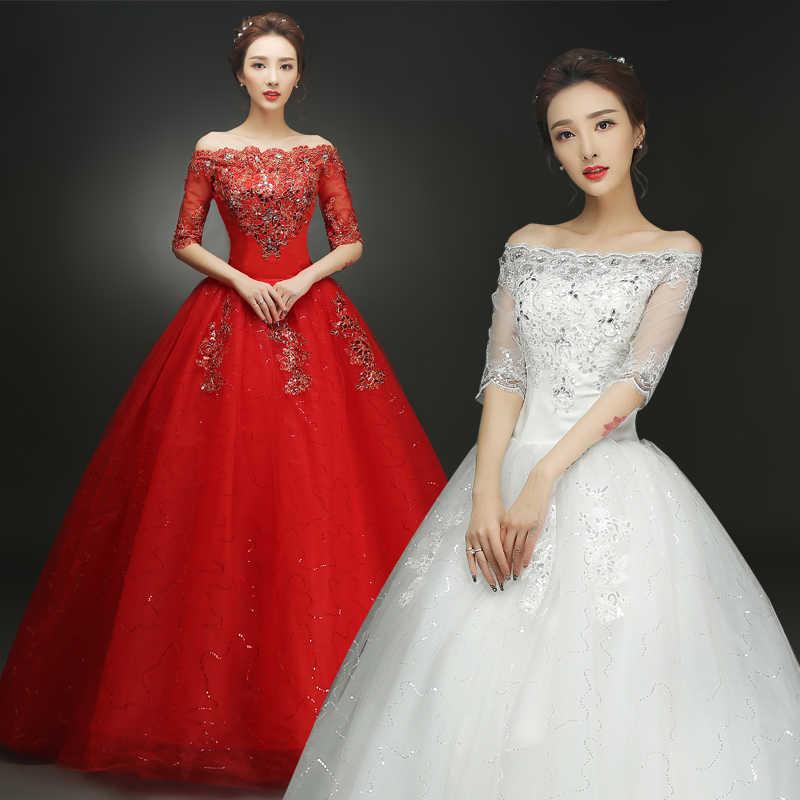 Wedding Dress Lace Up Bride Red White Wedding Dresses Ball Gowns Princess Large Size Shoulder Dress Wedding Dresses Aliexpress