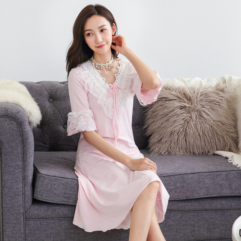 Spring Summer Long Skirt Cotton Nightgown Princess Palace Style Pink ...