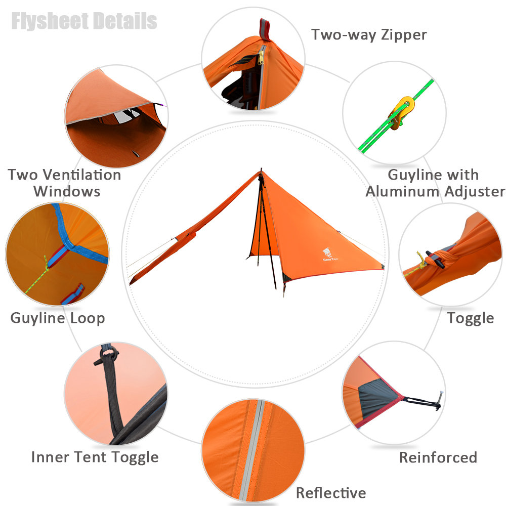 Image 2 - GeerTop Ultralight Camping Tent 1 Person 3 Season Portable  Compact Backpacking No Trekking Poles Tents Outdoor Hiking Road  TripTents