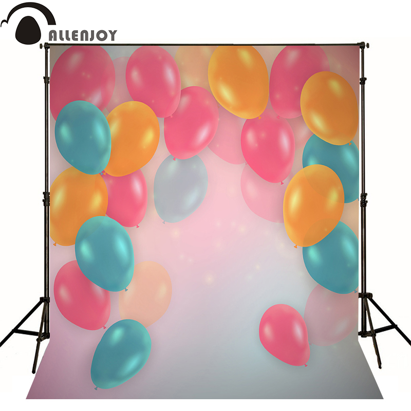 Allenjoy Photographic background balloon color bokeh hazy baby happy birthday party backdrops for sale photocall
