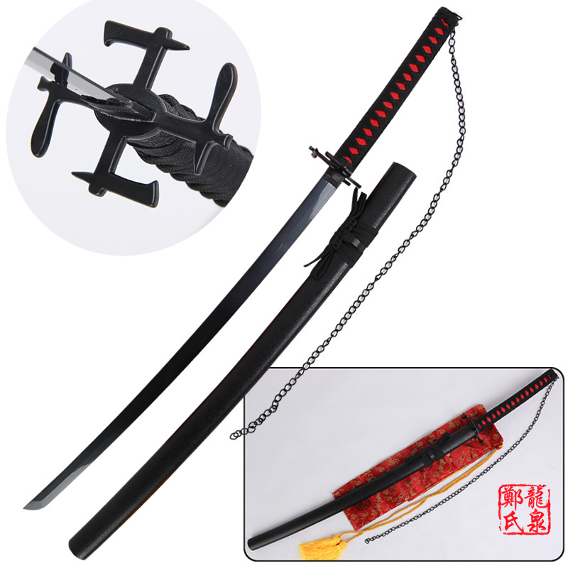 Անվճար առաքում Bleach Anime Sword Ichigo Carbon Steel Katana Replica Tensa Zangetsu Cosplay Props դեկորատիվ մատակարարում