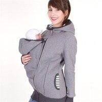 Fashion stijl lange mouw moederschap warme kleding moeder herfst winter vrouwen hoddies carry baby baby sweatshirt rits jas