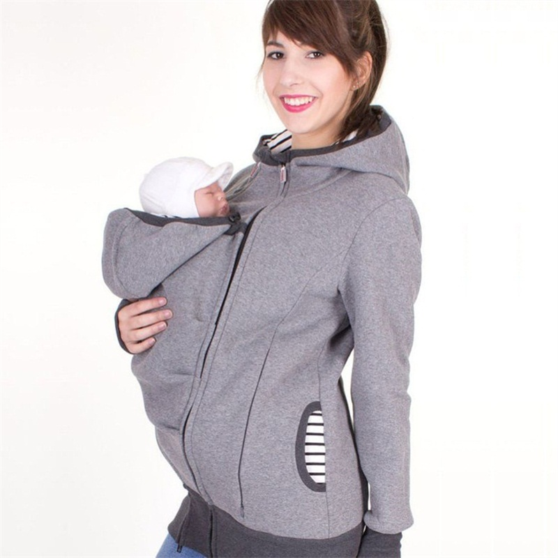fashion style long sleeve maternity warm clothing mother autumn winter women hoddies carry baby infant sweatshirt zipper coat ...