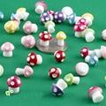 10Pcs Mini random color Mushroom Ornament Miniature Plant Pots Fairy DIY Dollhouse  play house gift