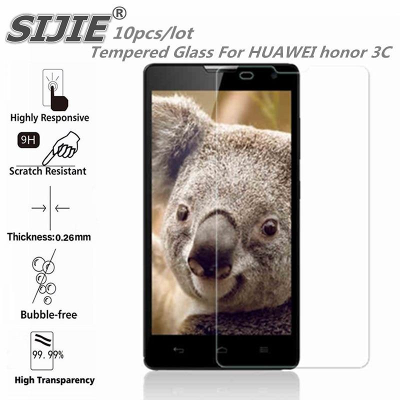 SIJIE 10 pièces verre trempé pour HUAWEI honour 3C H30-T00 écran de protection smartphone étui trempé 9 H sur 5 pouces cristaux fins