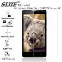 SIJIE 10PCS Tempered Glass For HUAWEI honor 3C H30-T00 Screen protective smartphone toughened case 9H on 5 inch crystals thin