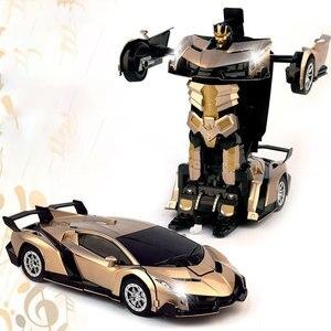 Image 2 - 2.4G Induction déformation RC voitures Transformation Robot voiture jouet lumière Robot électrique modèles jouets pour enfants cadeaux