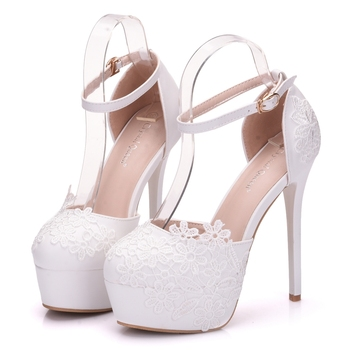 Crystal Queen Flower Lace Wedding Shoes 1