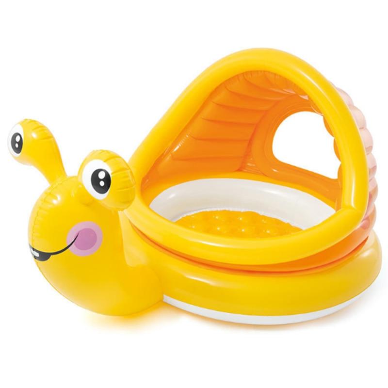 INTEX Gonflable Escargots D'eau Piscine pour nourrissons Bébé Piscine Jeu de bain Piscine À Balles avec Parasol Couverture Cadeau pour Bébé B31013