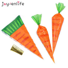 20pcs Easter Decoration Carrot Candy Cone Bags Easter Bunny Rabbit Gift Bag Candy Cones Kids Birthday Party Decoration Supplies