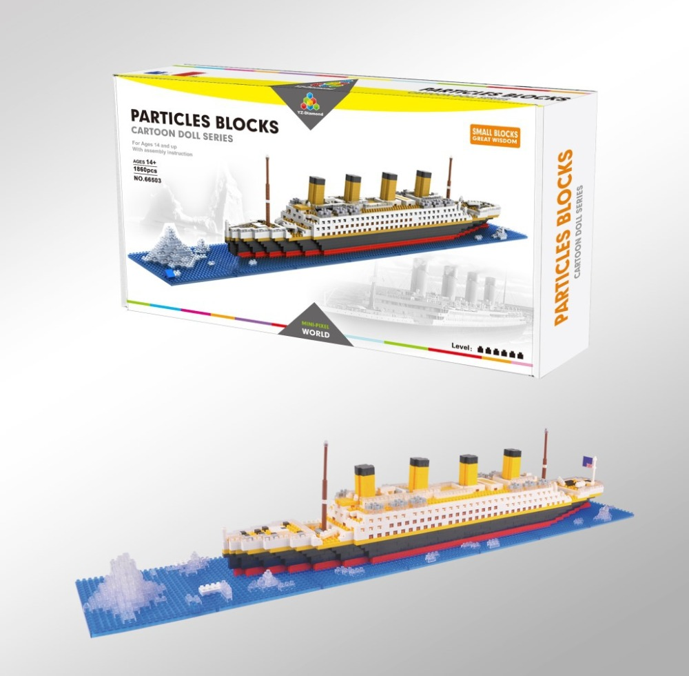 New Titanic Ship Model Diamond Building Blocks Kit Domino Legoings DIY Assemblage Games Chess With Instruction Manual Book