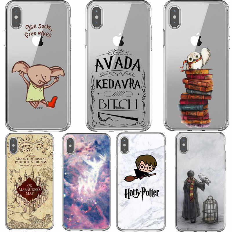 Harry Potter Deathly Hallows TPU Case For iPhone 7 8 Plus XS MAX XR Soft Luxury Hogwarts Cover For iPhone X 6 6S Plus 5 SE Coque