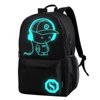 USB External Charging Laptop Noctilucent Cartoon School Bags Oxford Teenager Student Shoulder Backpack Adolescente Menino