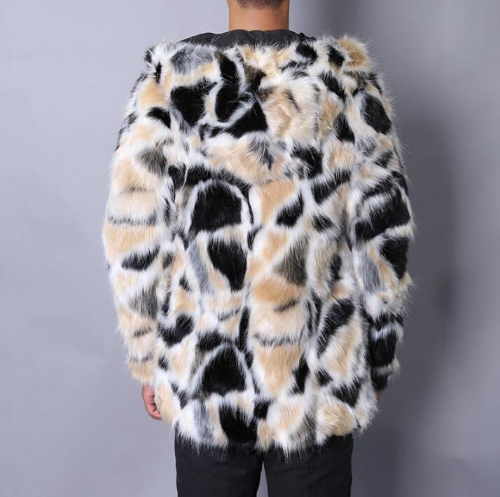 Maskë e ngrohtë faux lepuri lepuri mantel xhaketë lëkure burra - Veshje për meshkuj - Foto 4