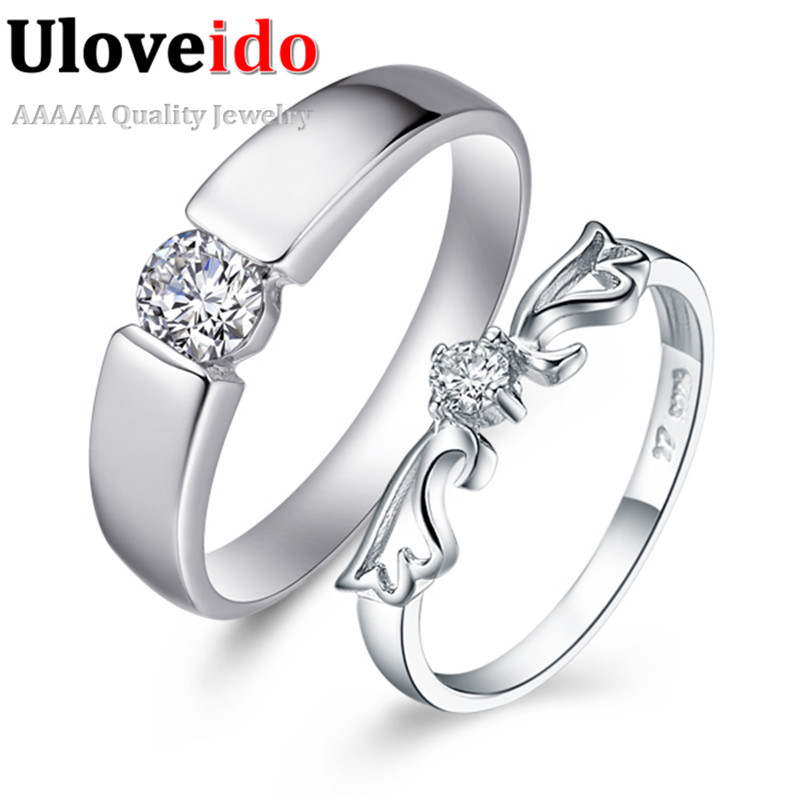 Cool Engagement Rings Vintage Korean Silver Plated Ring for Women and Men  CZ Diamond Fashion Jewelry