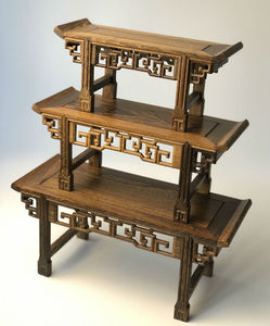 Nature wood pedestal traditional asian design rock vase teapot rectangle stand