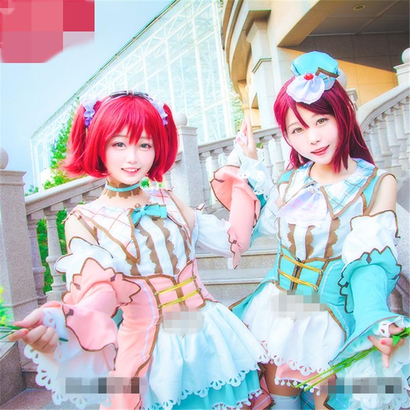 Anime Cosplay Love Live Sunshine White Valentine's Day Kurosawa Ruby Sakurauchi Riko Women Dress Cosplay Costume Full Sets Suits