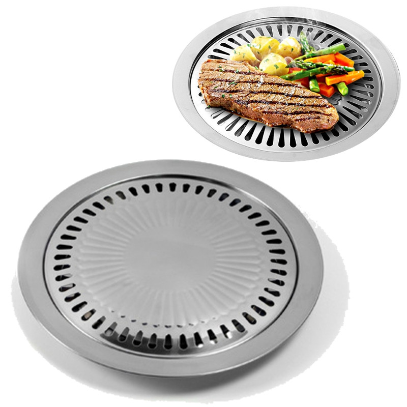 Non-Stick Korean Style Barbecue Pan Tray Griddle Household Kitchen Outdoor BBQ Cooking Tools Utensils Round Roasting Pan
