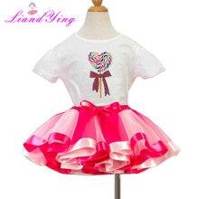 d460e13284508a Zoete Snoep Sequin T-shirt Verjaardag Tutu Sets Baby Meisjes Tutu Jurken  Top T-