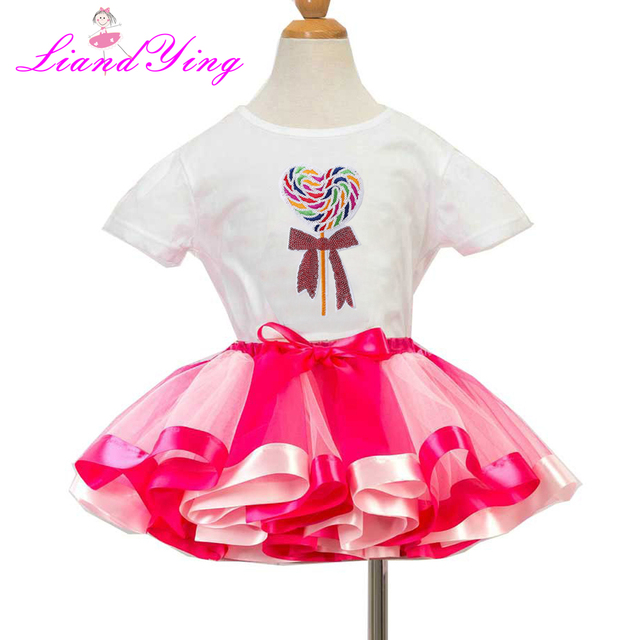 Sweet Candy Sequin T Shirt Birthday Tutu Sets Baby Girls Dresses Top Skirt Set Dress Up Costume For Party