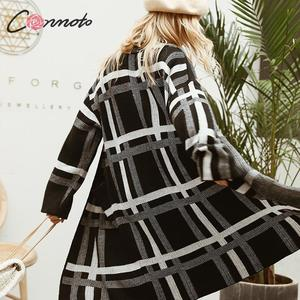 Image 4 - Conmoto Women Sweaters Cardigan Fashion Black Plaid Long Sleeves Sweater Casual High Street Knitted Jacket Female Chic Long Coat