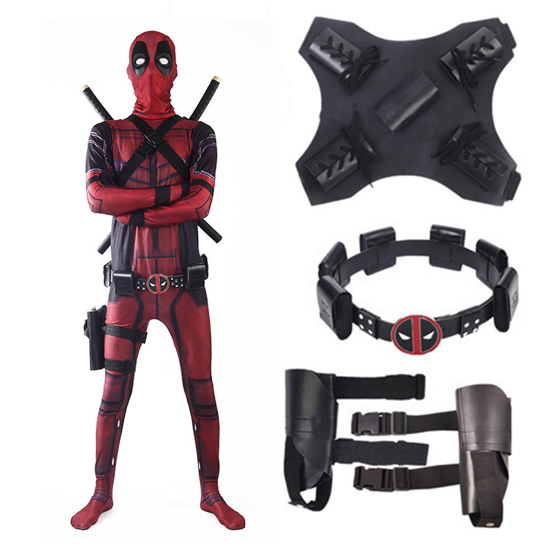 2018 New Deadpool 2 Costume Kids Adult Man Spandex Lycra Zentai Bodysuit Halloween Cosplay Suit Belt Headwear Mask Sword Holster
